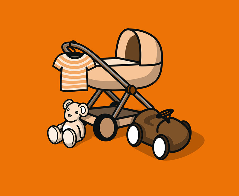 Kinderwagen mit Babyschale und Zubehör